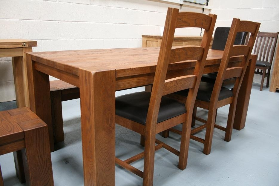 Boston Dark Oak Dining Furniture | Chunky Benches & Tables Throughout Solid Oak Dining Tables (Image 3 of 25)