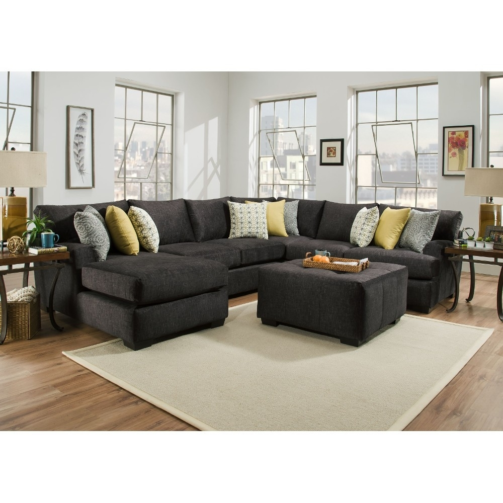 Boulevard Gray Sectional Corinthian – Blvdlsf3Pcsec | Conn's Within Evan 2 Piece Sectionals With Raf Chaise (Image 8 of 25)