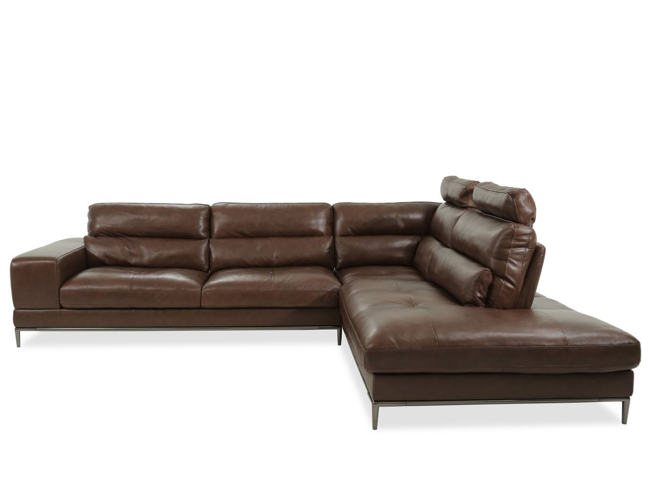 Boulevard Patrona Brown Two Piece Sectional Mathis Brothers Couch With Aspen 2 Piece Sleeper Sectionals With Raf Chaise (Image 9 of 25)