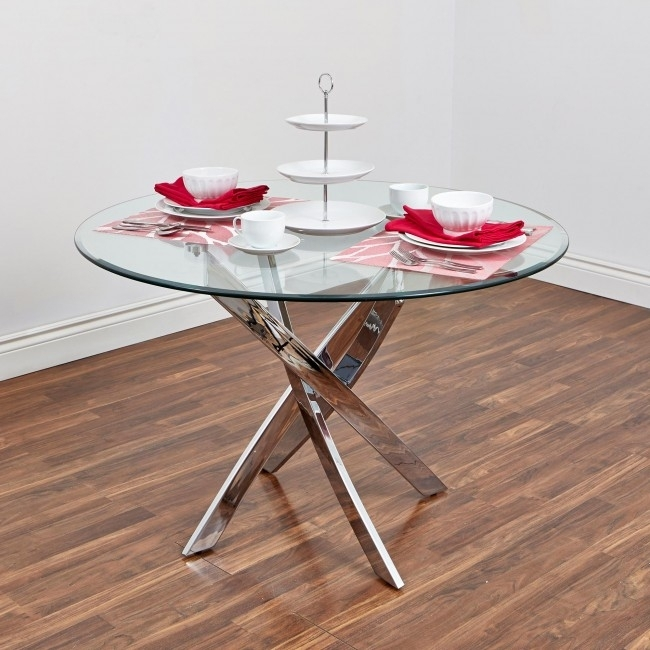 Bradford Carol Glass Dining Table (Clear/silver) | Kitchen Stuff Plus Inside Bradford Dining Tables (Image 3 of 25)