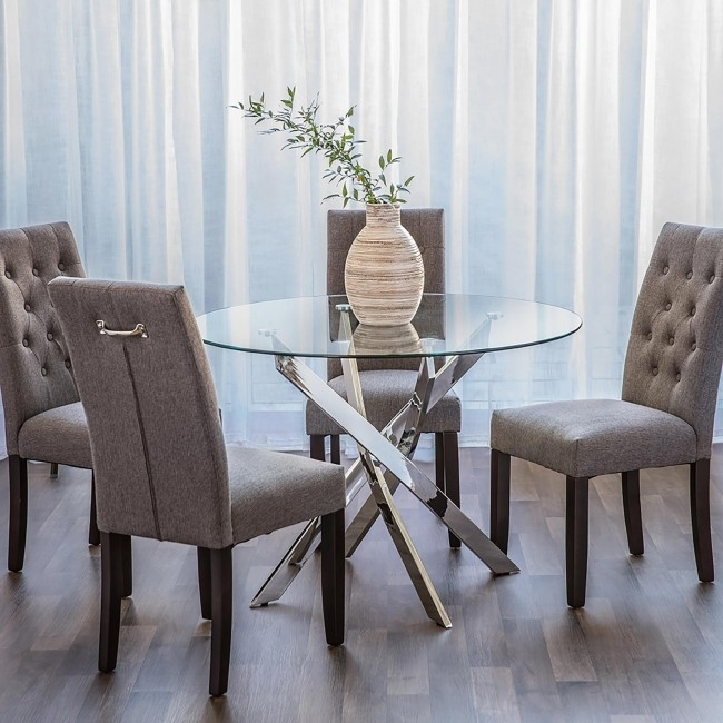 Bradford Carol Glass Dining Table (Clear/silver) | Kitchen Stuff Plus Regarding Bradford Dining Tables (Image 4 of 25)