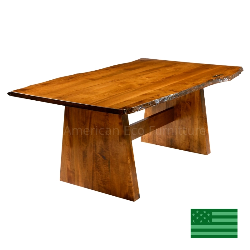 Bradford Live Edge Dining Table Made In Usa | Solid Wood American For Bradford Dining Tables (View 23 of 25)