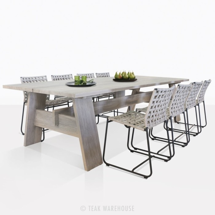 Bradford Teak Dining Table And Mayo Wicker Chairs | Teak Warehouse For Bradford Dining Tables (Image 17 of 25)