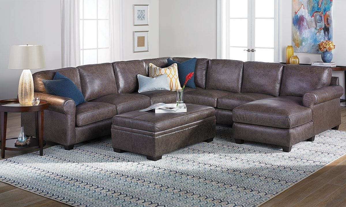 Bradley Top Grain Leather & Feather Sectional Sofa | The Dump Luxe Intended For Norfolk Grey 6 Piece Sectionals (Image 5 of 25)