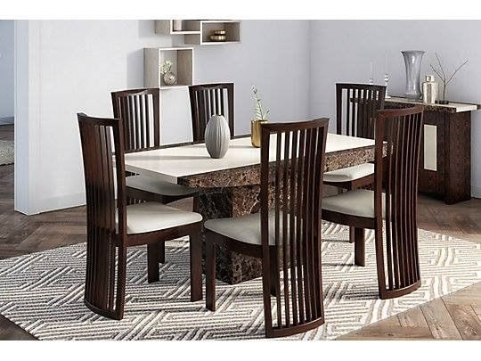 Brand New Boxed Naples Solid Marble Dining Table & 6 Chairs | In Pertaining To Solid Marble Dining Tables (View 23 of 25)