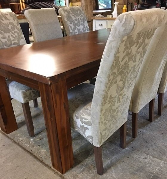 Brand New Ex Demo Furniture Village Kember Solid Acacia Dining Table Pertaining To Acacia Dining Tables (View 13 of 25)