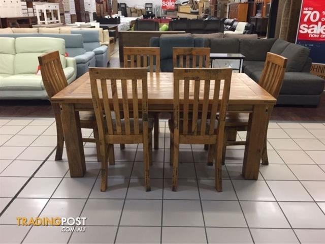 Brand New | Woolshed Dining Set (7 Pieces) | Solid Timber For Sale Inside Logan 7 Piece Dining Sets (View 18 of 25)