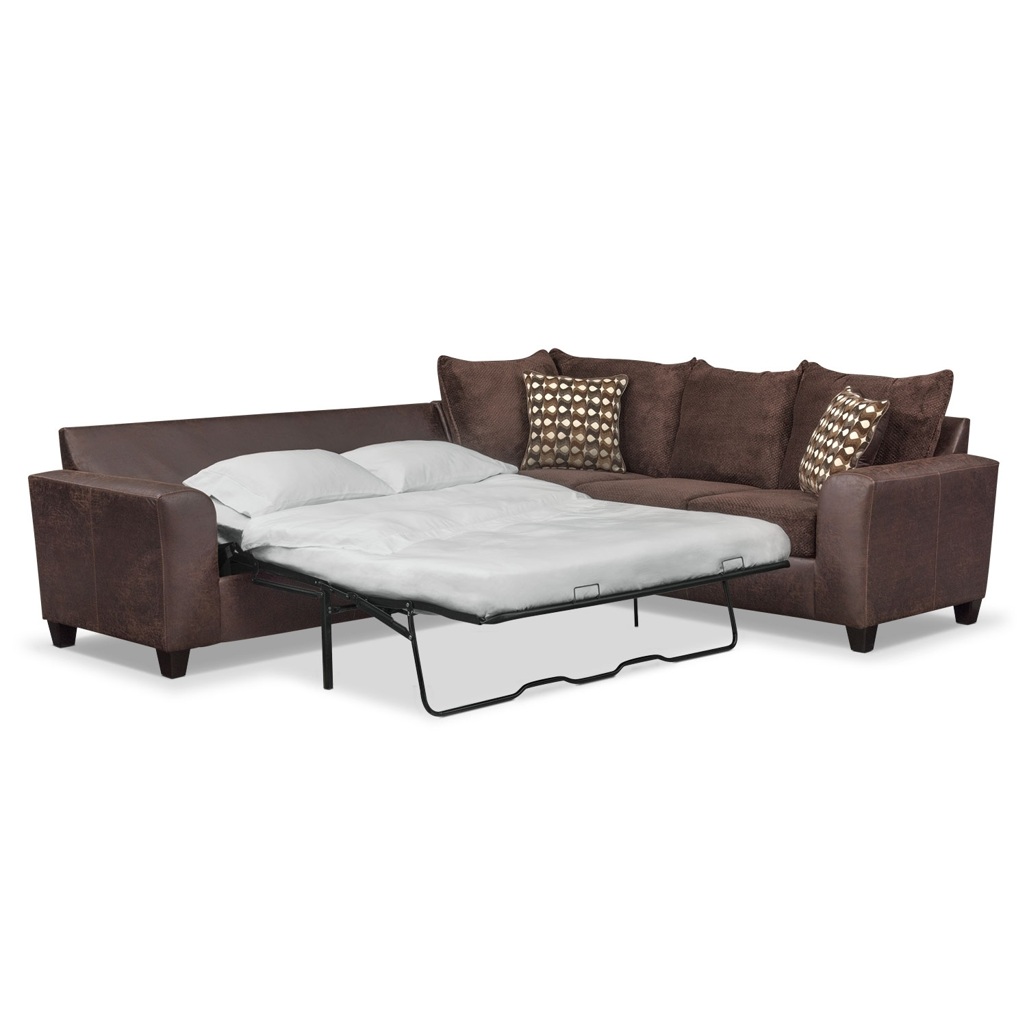 Brando 2 Piece Innerspring Sleeper Sectional – Chocolate | Value With Regard To Aurora 2 Piece Sectionals (Image 9 of 25)