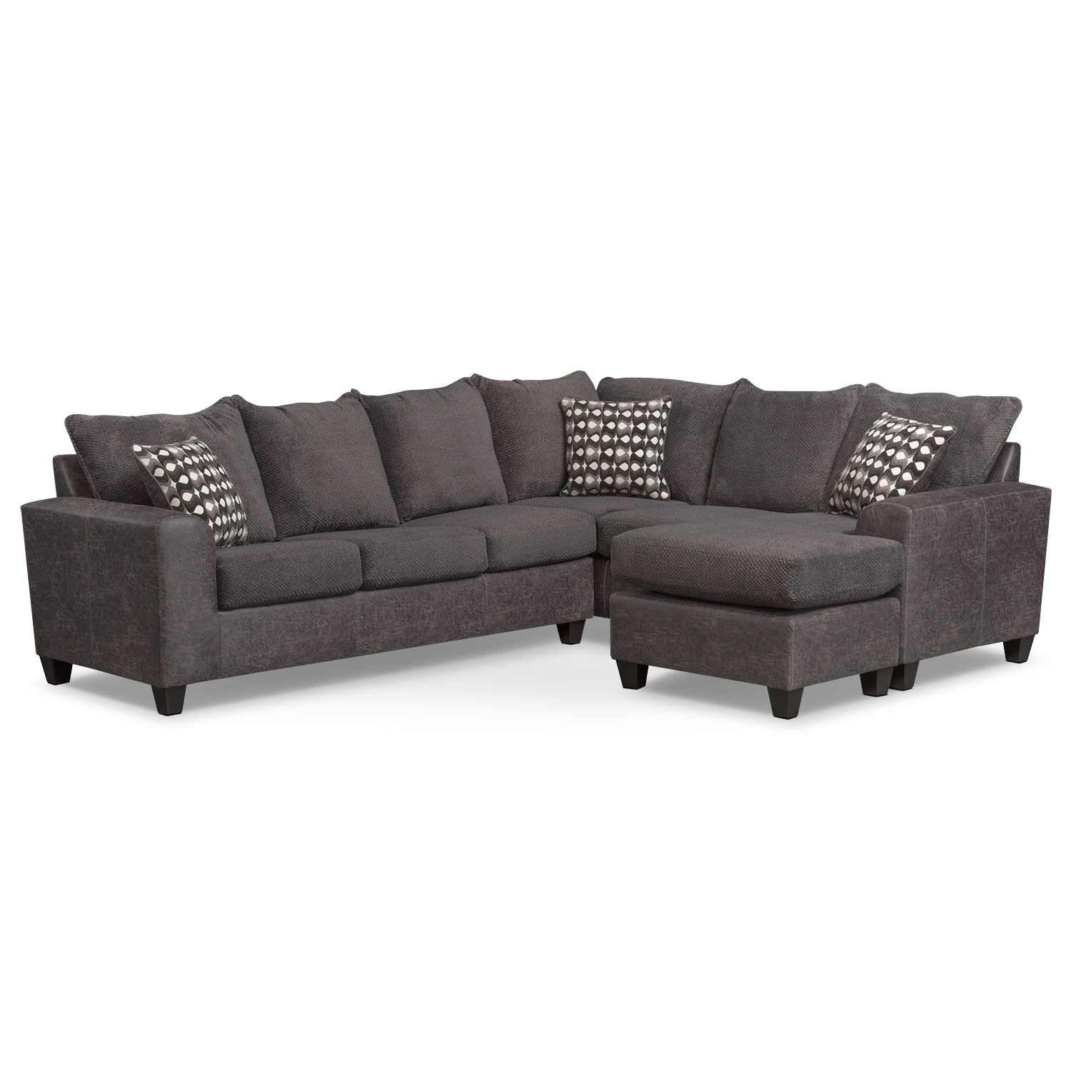 Brando 3 Piece Sectional With Modular Chaise – Smoke | American With Aurora 2 Piece Sectionals (Image 11 of 25)