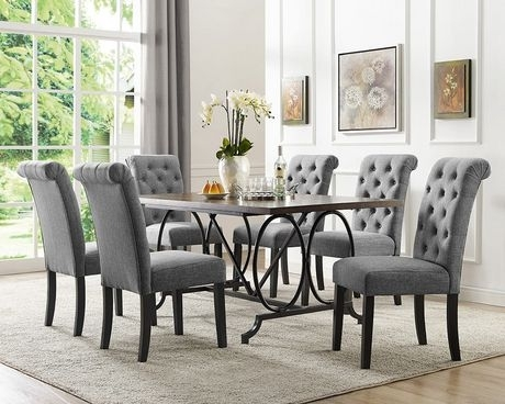 Brassex Inc Soho 7 Piece Dining Set, Table + 6 Chairs, Grey In Dining Tables With 6 Chairs (Image 8 of 25)