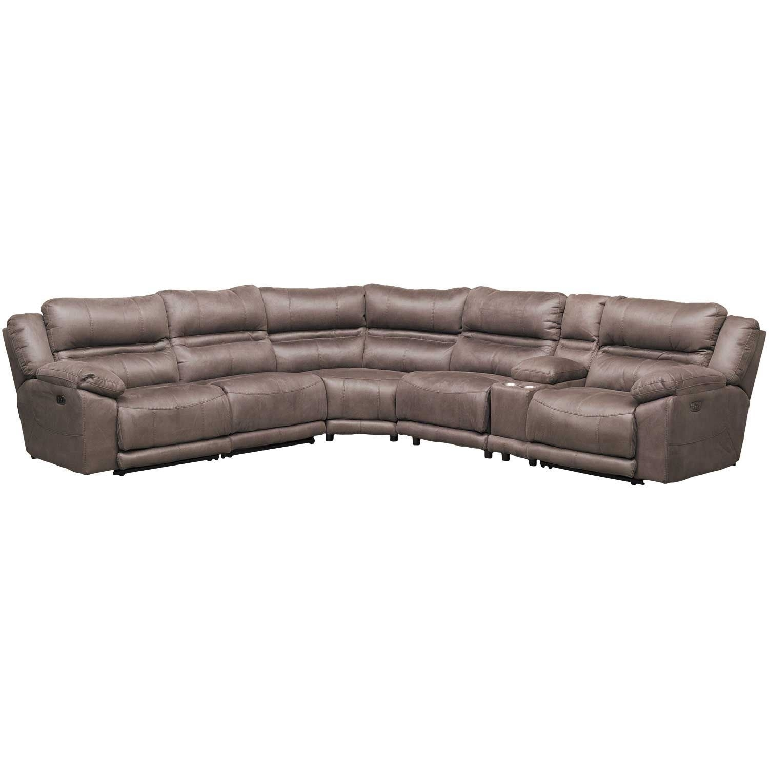 Braxton 6 Piece Power Reclining Sectional With Adjustable Headrest For Jackson 6 Piece Power Reclining Sectionals With  Sleeper (Image 7 of 25)