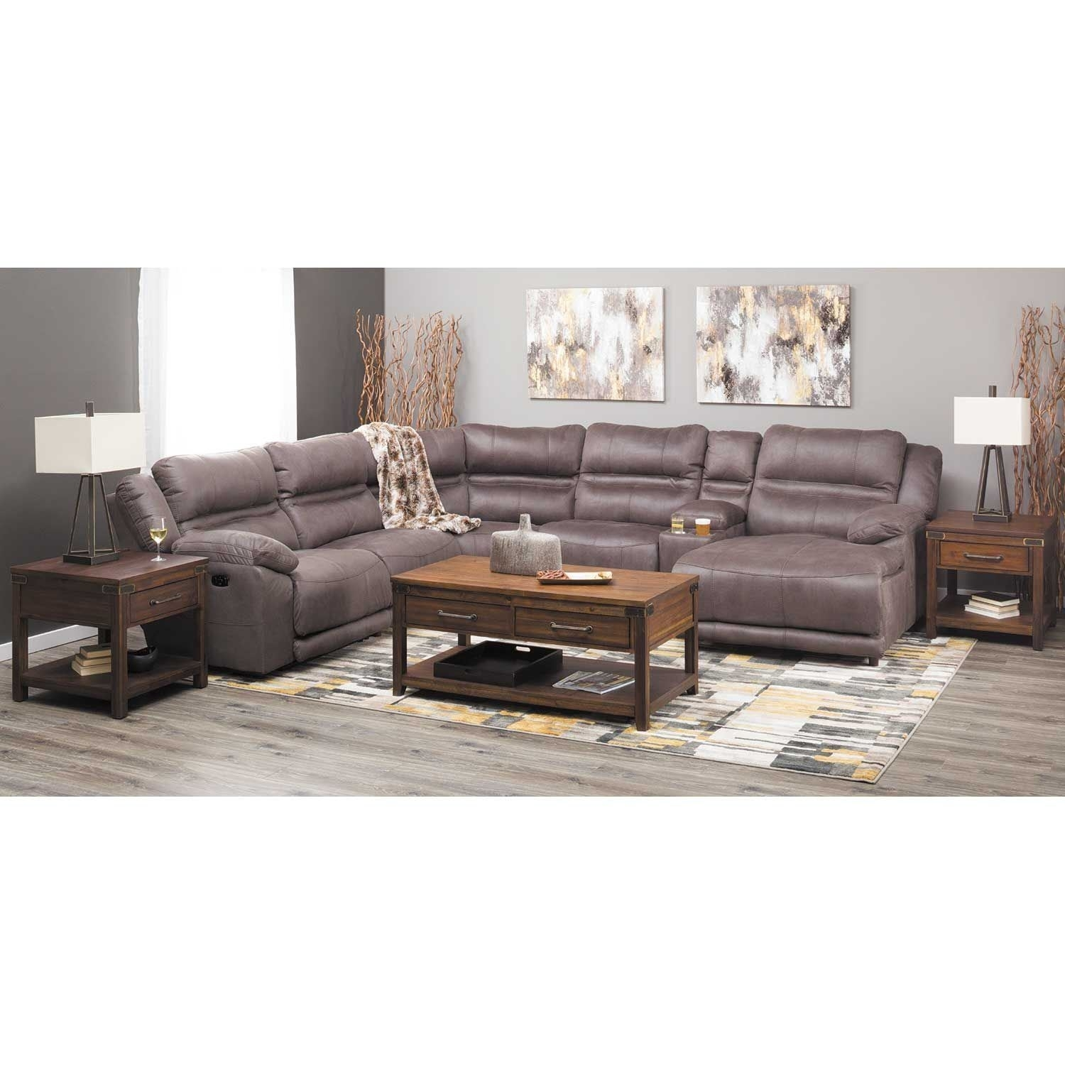 Braxton 6 Piece Power Reclining Sectional With Adjustable Headrest Regarding Jackson 6 Piece Power Reclining Sectionals (View 9 of 25)