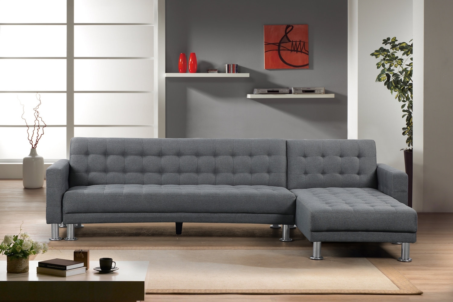 Brayden Studio Lacaille Sleeper Sectional & Reviews | Wayfair Inside Marissa Ii 3 Piece Sectionals (Image 2 of 25)