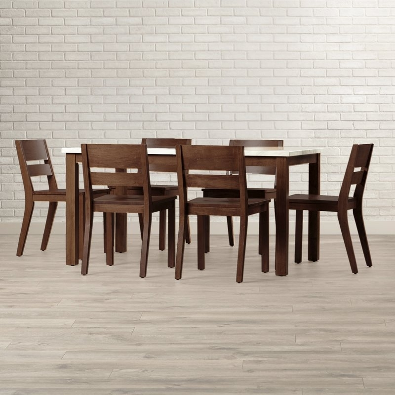 Brayden Studio Losey 7 Piece Dining Set & Reviews   Wayfair Inside Candice Ii 7 Piece Extension Rectangular Dining Sets With Slat Back Side Chairs (Image 6 of 25)