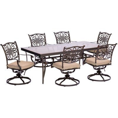 Brayden Studio Swatzell 7 Piece Dining Set With Cushions Cushion Pertaining To Chapleau Ii 7 Piece Extension Dining Table Sets (Image 2 of 25)