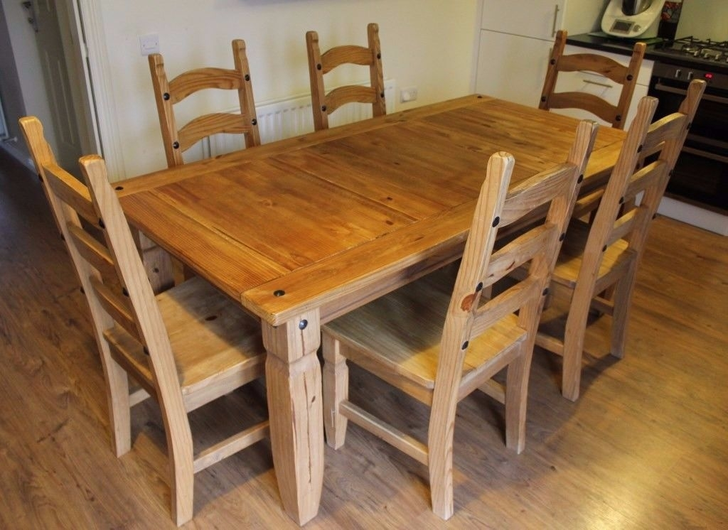 Brazil Oak Dining Table, 6 Chairs And Side Table Setpier 1 Pertaining To Oak Dining Tables With 6 Chairs (Image 3 of 25)