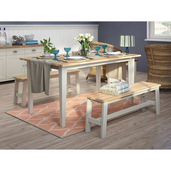 Breakwater Bay Beecher Falls Dining Set With 2 Benches & Reviews With Dining Tables And 2 Benches (Image 6 of 25)