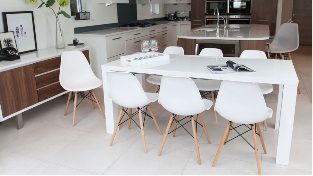 Breathtaking Fern White Gloss Extending Dining Table Uk Extendable With Regard To Extending Dining Tables Set (View 18 of 25)