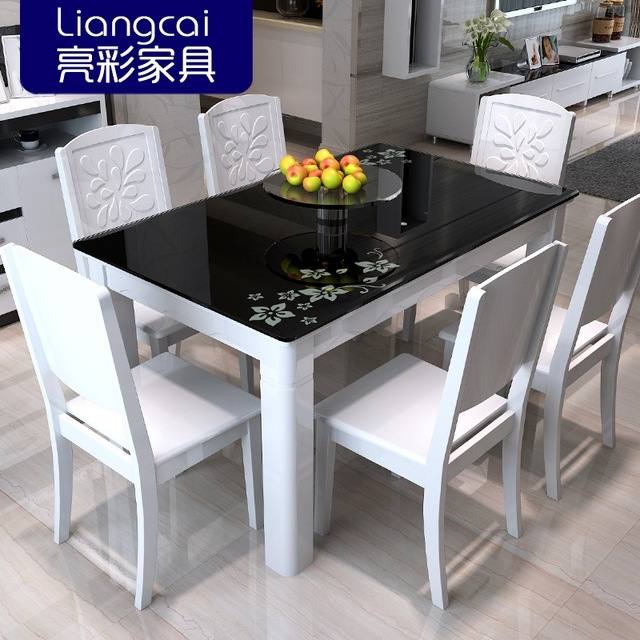 Bright Color Combination Of Black Glass Dining Tables And Chairs Pertaining To Black Glass Dining Tables (Image 4 of 25)