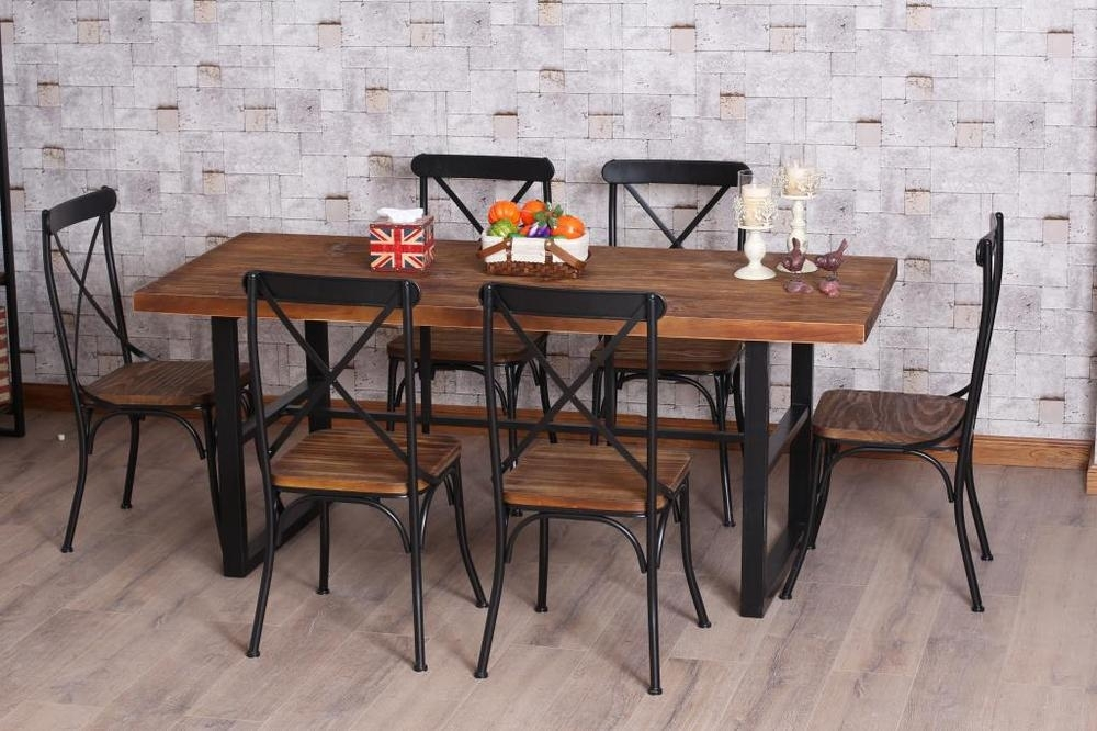Brilliant Design Wood And Iron Dining Tables Dining Table – Textured With Mango Wood/iron Dining Tables (Image 3 of 25)