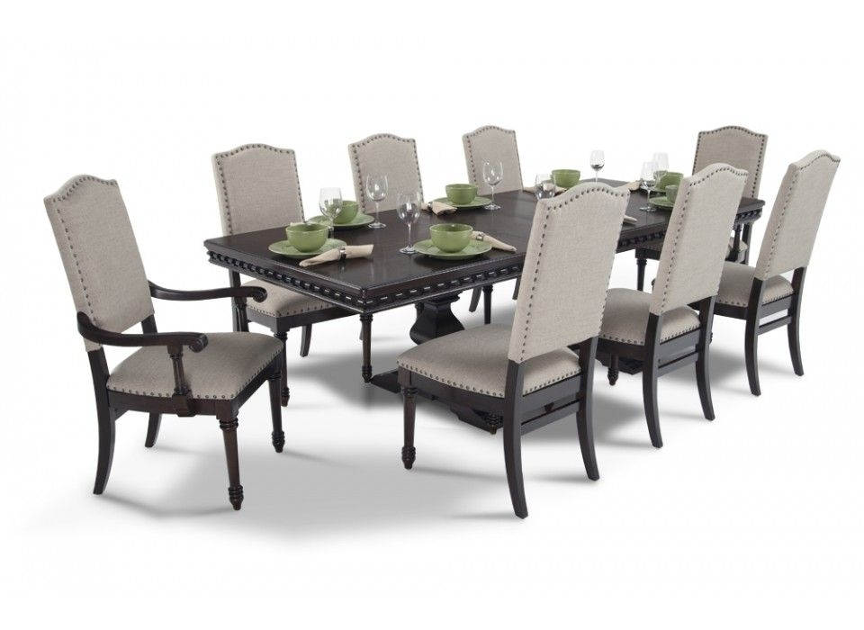 Bristol 9 Piece Dining Set In 2018 | Making A House A Home For Candice Ii 7 Piece Extension Rectangular Dining Sets With Uph Side Chairs (View 10 of 25)