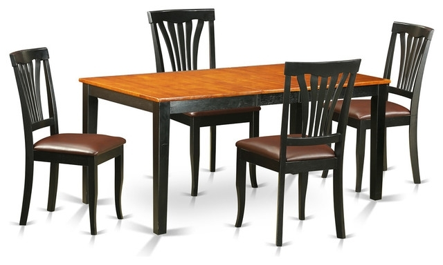 Brittany Dining Table Set, Black And Cherry, 5 Pieces – Transitional Inside Brittany Dining Tables (Image 13 of 25)