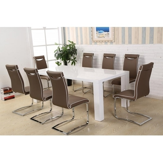 Brittany Dining Table Set In White High Gloss With 8 Dining Intended For Brittany Dining Tables (Image 12 of 25)