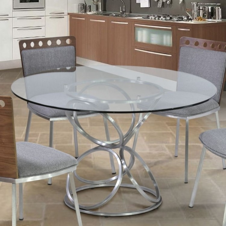 "Brooke 48"" Round Dining Table In Brushed Stainless Steel Finish With For Brushed Steel Dining Tables (Image 4 of 25)"