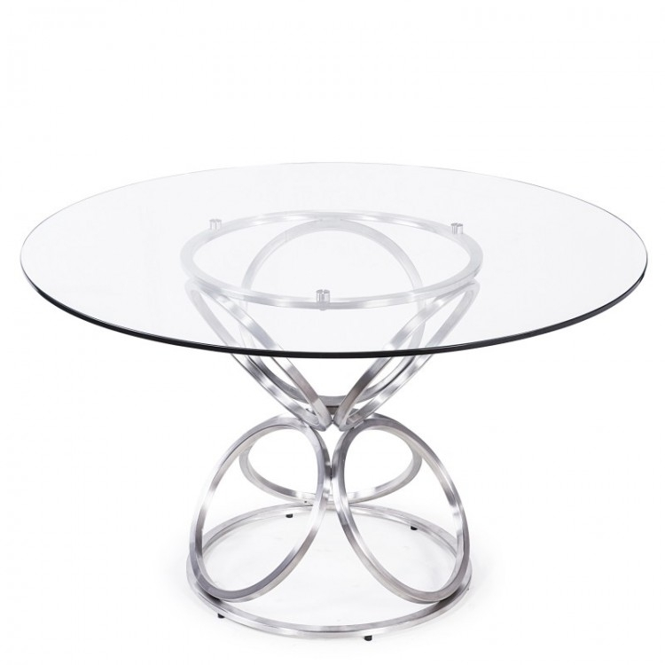 "Brooke 48"" Round Dining Table In Brushed Stainless Steel Finish With Intended For Brushed Steel Dining Tables (Image 5 of 25)"