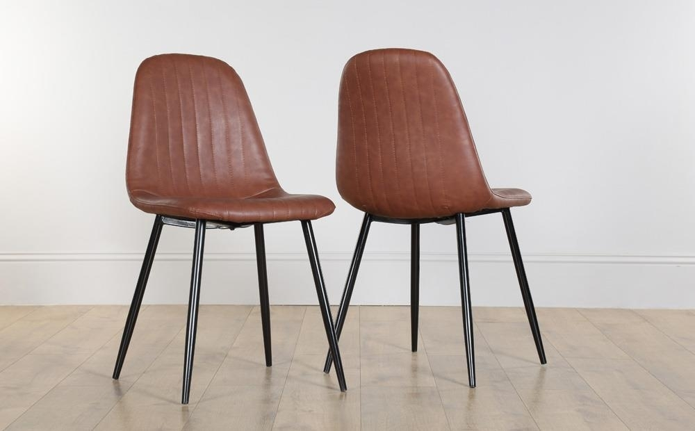 Brooklyn Leather Dining Chair Tan (Black Leg) Only £ (View 2 of 25)