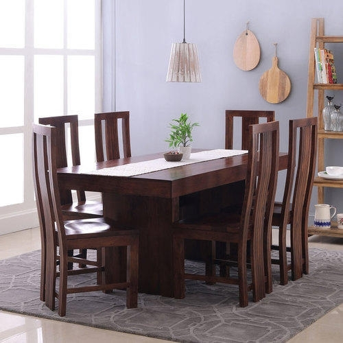 Brown 6 Chairs Wooden Dining Table Set, Rs 80000 /set, Hekami Pertaining To 6 Seat Dining Table Sets (Image 9 of 25)