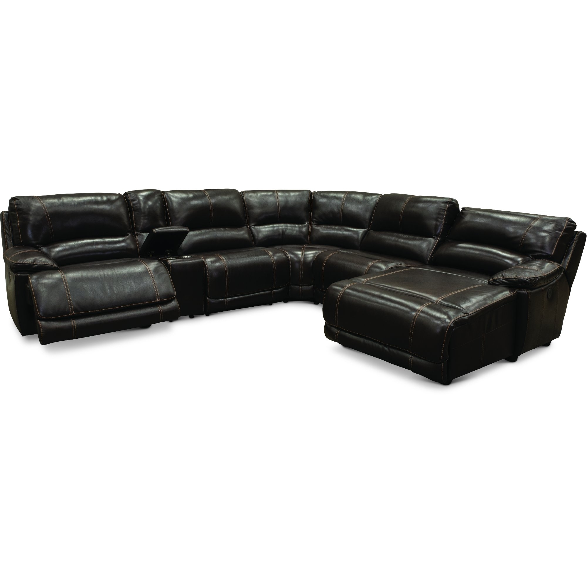 Brown 6 Piece Power Reclining Sectional Sofa – Brant   Rc Willey Throughout Denali Charcoal Grey 6 Piece Reclining Sectionals With 2 Power Headrests (Image 6 of 25)