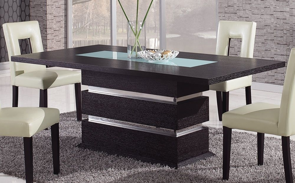 Brown Contemporary Pedestal Dining Table With Glass Inlay Intended For Contemporary Dining Sets (Image 3 of 25)