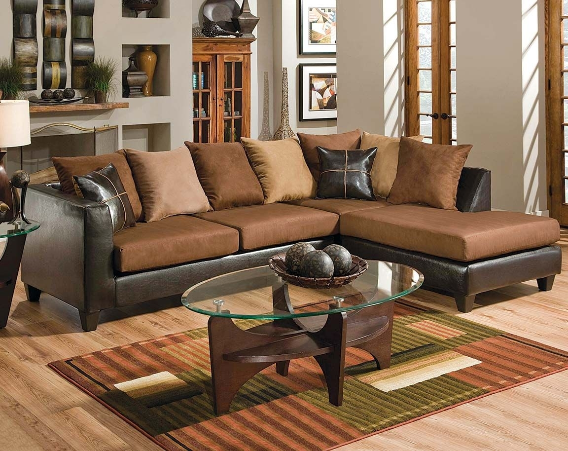 Brown Couch With Chaise | Bicast Chocolate Two Piece Sectional Sofa For Norfolk Chocolate 6 Piece Sectionals (Image 5 of 25)