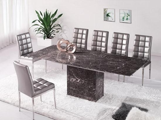Brown & Grey Extending Dining Table 6 Chairs (Marble) – Kk Furniture With Regard To Extending Marble Dining Tables (Image 3 of 25)