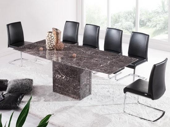 Brown & Grey Extending Dining Table & 6 Chairs (Marble) – Kk In Extending Marble Dining Tables (Image 2 of 25)