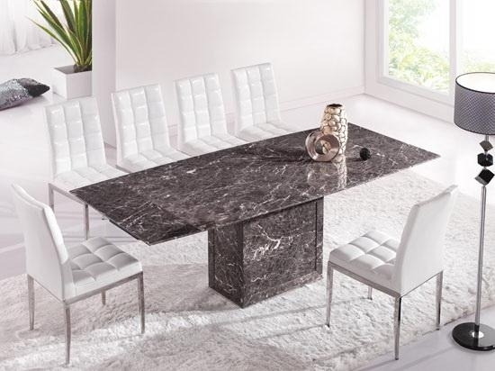 Brown & Grey Extending Dining Table With 6 Chairs (Marble) – Kk Pertaining To Extending Marble Dining Tables (Image 4 of 25)