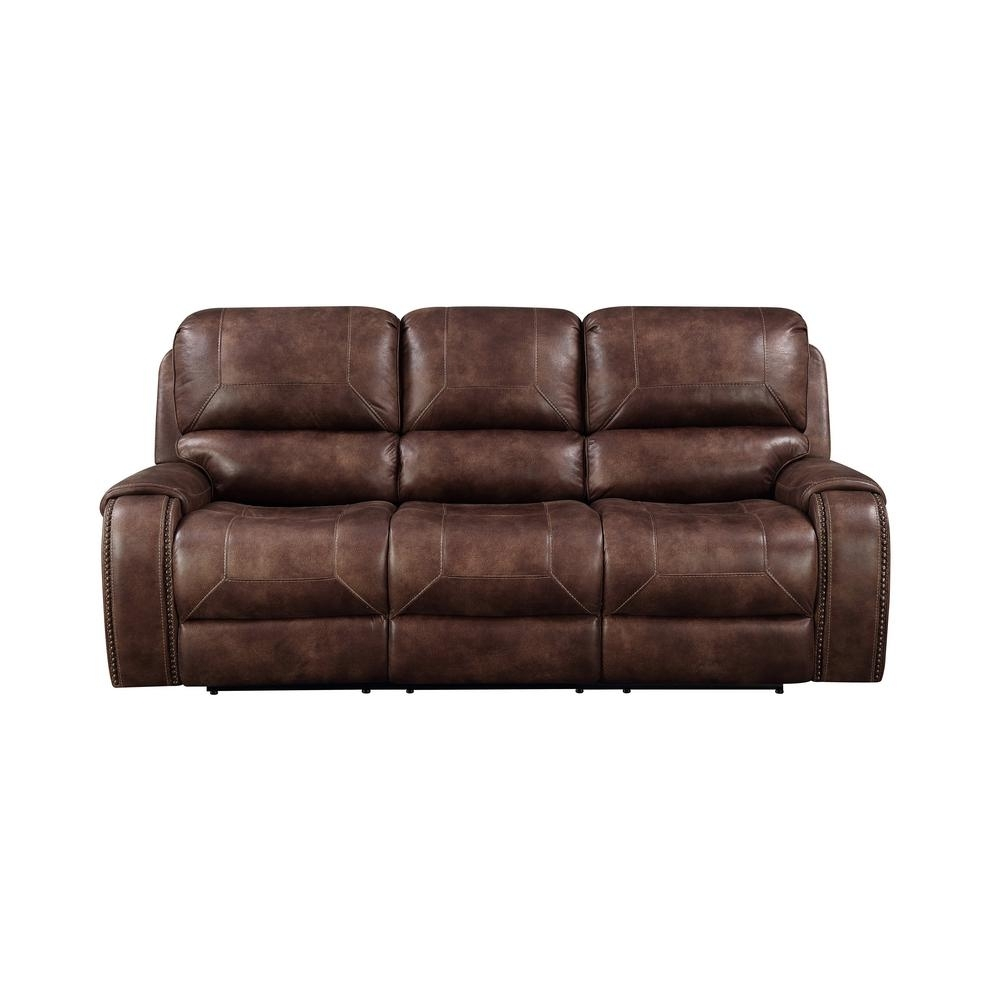 Brown Jennings Power Reclining Sofa A398U 403 139 – The Home Depot For Waylon 3 Piece Power Reclining Sectionals (Image 4 of 25)
