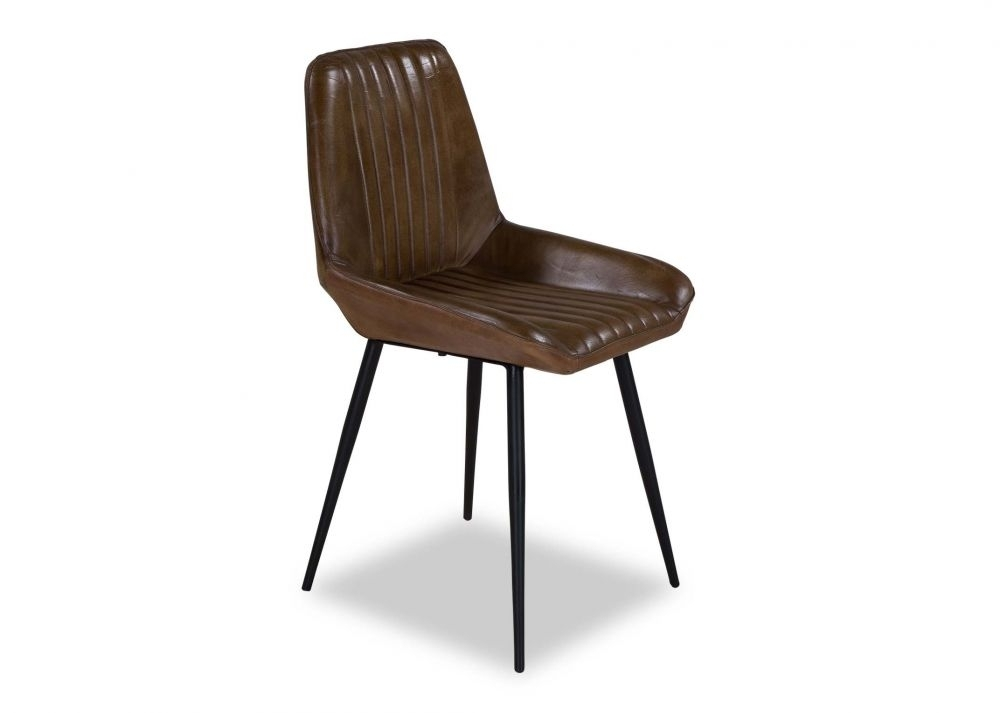 Brown Leather Dining Chair – Coco – Ez Living Furniture Regarding Brown Leather Dining Chairs (Image 6 of 25)