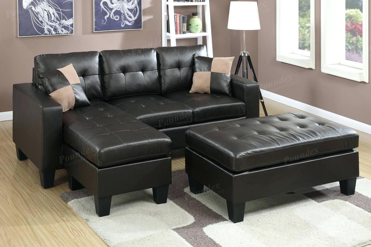 Brown Leather Sectional With Ott Chocolate Sofa Storage Microfiber Pertaining To Taren Reversible Sofa/chaise Sleeper Sectionals With Storage Ottoman (Image 4 of 25)
