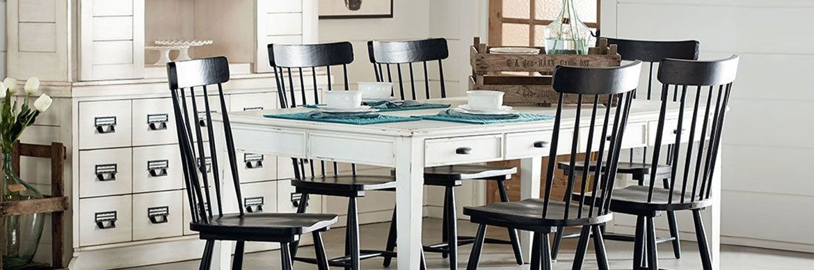 Brown Magnolia Home Dining Room | Living Spaces Throughout Magnolia Home Shop Floor Dining Tables With Iron Trestle (Image 1 of 25)