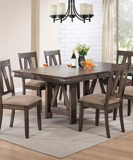 Brown Seven Piece Wood Dining Set | Products In Candice Ii 7 Piece Extension Rectangle Dining Sets (Image 3 of 25)