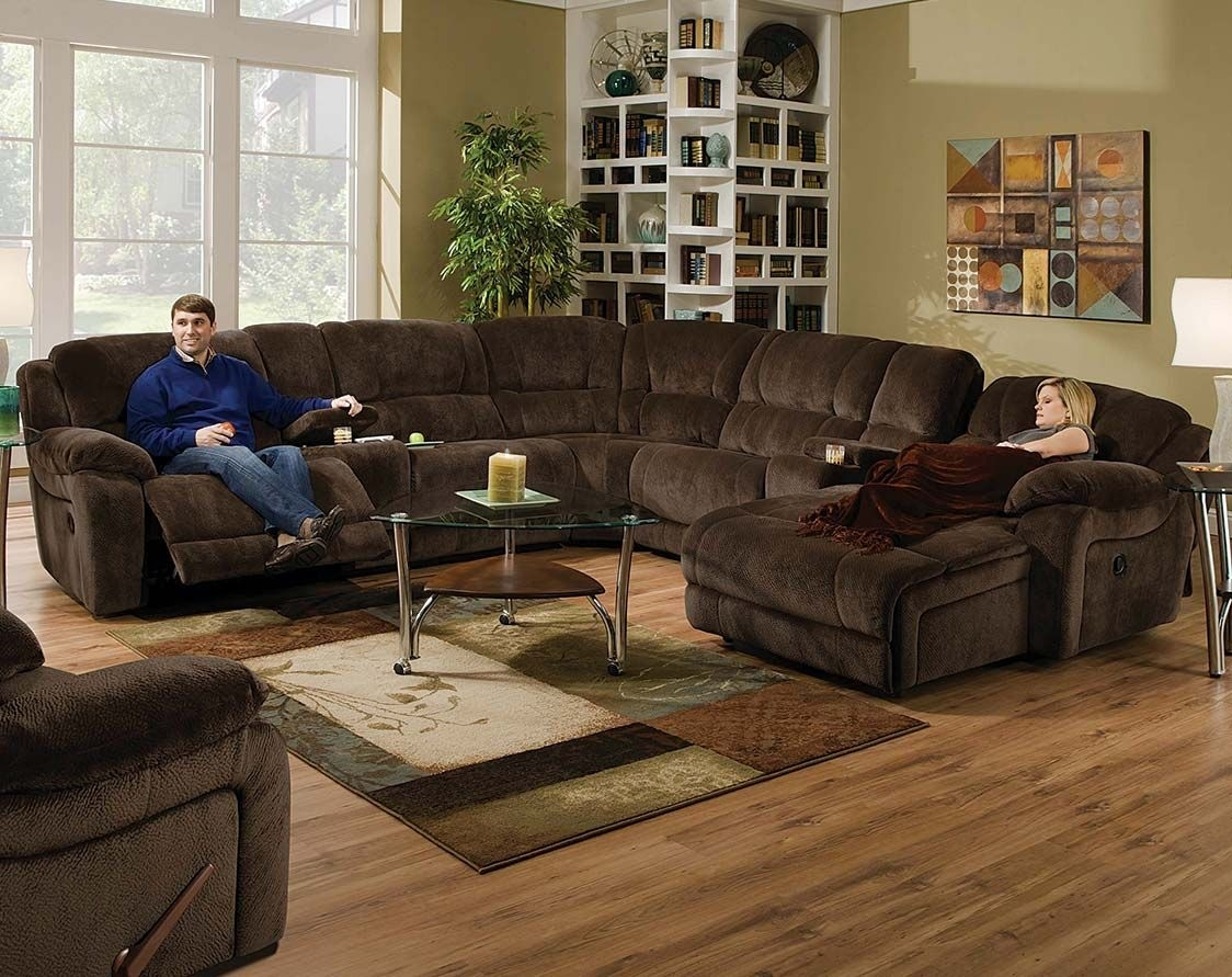 Brown Wrap Around Couch | Championship Chocolate Reclining Sectional With Norfolk Chocolate 3 Piece Sectionals With Raf Chaise (Image 7 of 25)