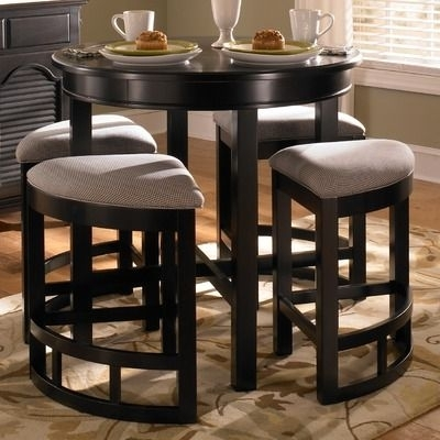 Broyhill Mirren Pointe Round 5 Piece Counter Pub Table Set | For The Intended For Valencia 5 Piece Counter Sets With Counterstool (View 9 of 25)