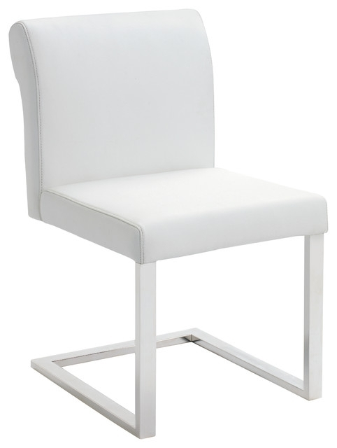 Bruno White Leather Dining Chair – Modern – Dining Chairs Ebpeters With White Leather Dining Chairs (View 3 of 25)