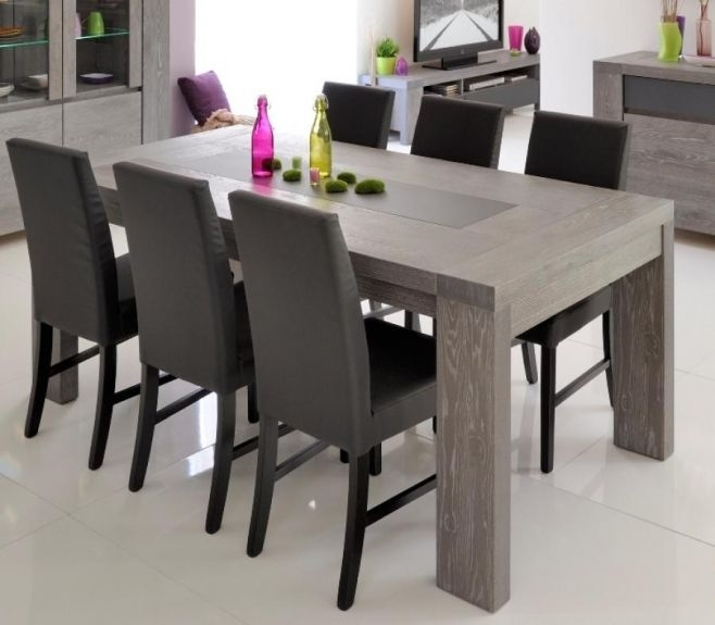 Brunswick, Contemporary Extending Dining Table In Grey Oak Veneer With Contemporary Extending Dining Tables (Image 2 of 25)