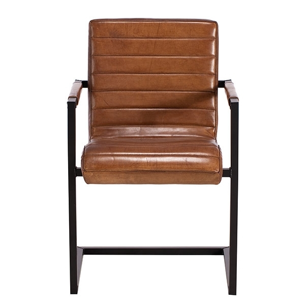 Brutus Buffalo Leather Dining Chair, Brown | Dining Chairs | Dining Room Regarding Brown Leather Dining Chairs (Image 9 of 25)