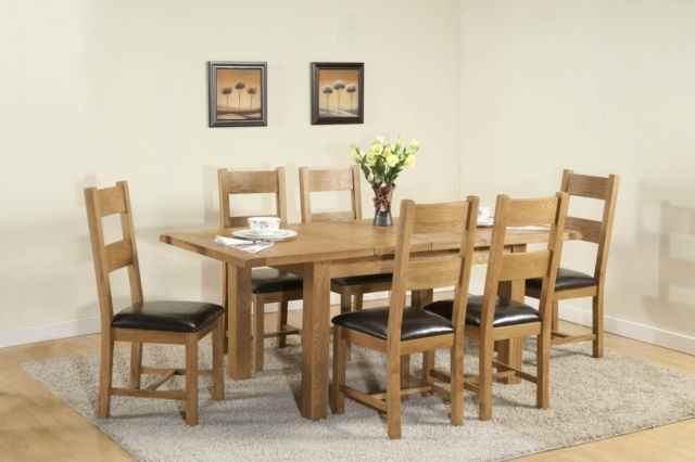 Burnham Solid Chunky Wood Rustic Oak Large Extending Dining Table With Regard To Chunky Solid Oak Dining Tables And 6 Chairs (Image 3 of 25)