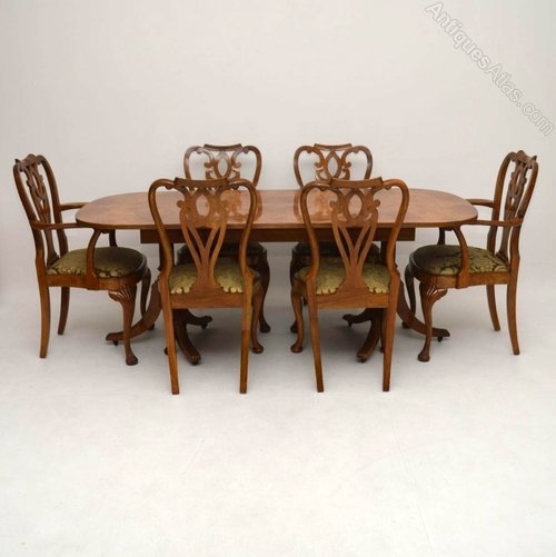 Burr Maple & Walnut Dining Table Plus 6 Chairs – Antiques Atlas Inside Walnut Dining Tables And 6 Chairs (Image 7 of 25)