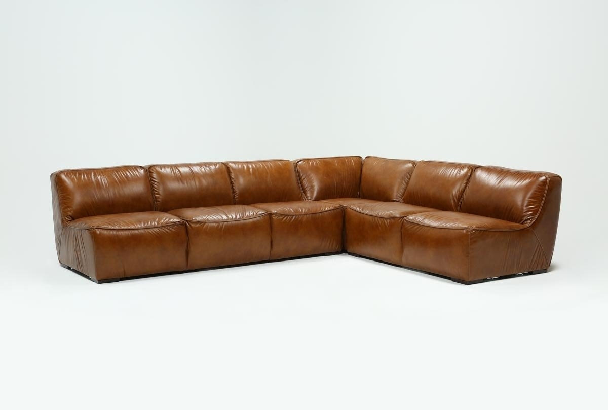 Burton Leather 3 Piece Sectional | Living Spaces Inside Tenny Cognac 2 Piece Right Facing Chaise Sectionals With 2 Headrest (Image 4 of 25)